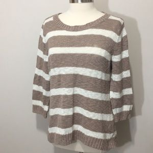 Old Navy Light Brown and Cream Striped Sweater